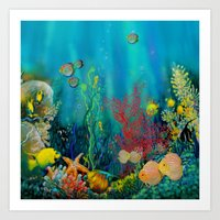 Undersea Art With Coral Art Print