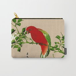 Vintage Japanese Painting of a Parrot, Red & Green Carry-All Pouch
