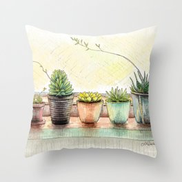 Succulents on a Window Sill Throw Pillow