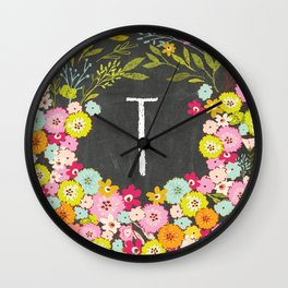 T botanical monogram. Letter initial with colorful flowers on a chalkboard background Wall Clock
