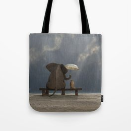 elephant and dog sit under the rain Tote Bag