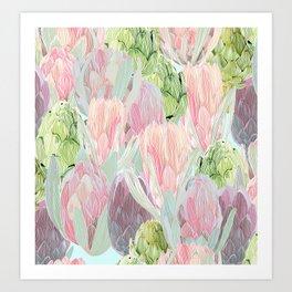 Protea and artichokes Art Print