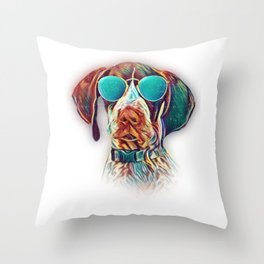 German Shorthaired Pointer Colorful Neon Dog Sunglasses Throw Pillow