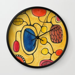Orbs N Lines - Bird Pond Flowers Wall Clock