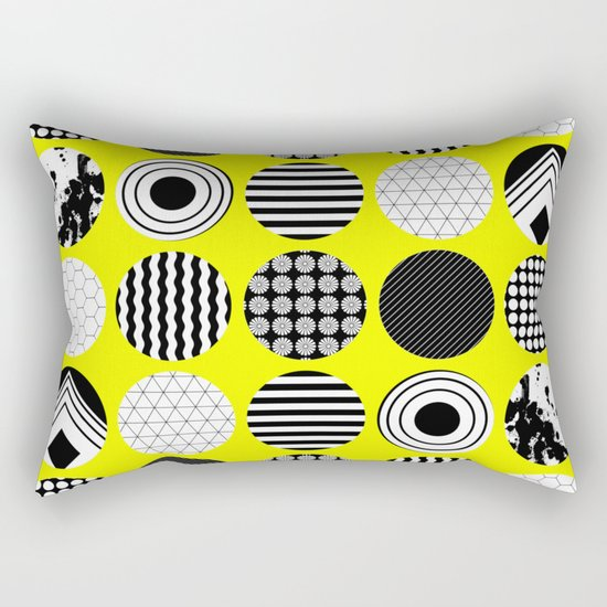 Eclectic Geometric - Black, white and yellow Rectangular Pillow