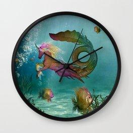 Wonderful seahorse and fantasy fish in the deep ocean Wall Clock