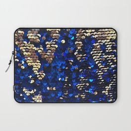 Gold and Blue Glitter Pattern Laptop Sleeve