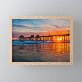 HB Sunsets - Sunset At The Huntington Beach Pier 3/10/16 Framed Mini Art Print