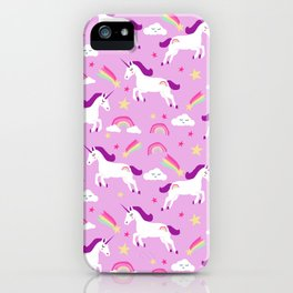 Unicorns happy clouds rainbows magical pony pattern pink pastels iPhone Case