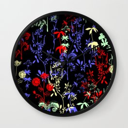 Silhouettes of wild flowers Wall Clock