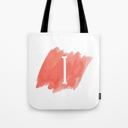 Letter I Coral Watercolor Tote Bag