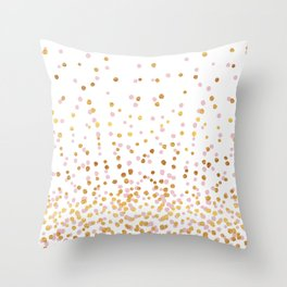 Floating Dots - Pink and Gold on White Throw Pillow