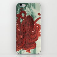 octopus iPhone & iPod Skins featuring Octopus Beach by Chase Kunz