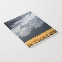 Cotton Candy - Storm Clouds Over Wheat Field in Kansas Notebook