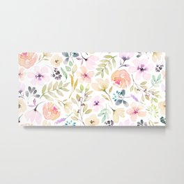 Pretty watercolour floral in pink, green, peach + apricot Metal Print