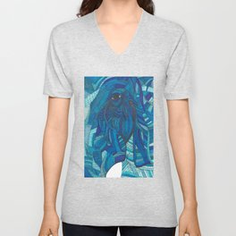 'He remembers' Ombre Blue Close-up Elephant Face Illustration with line work Unisex V-Neck