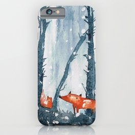 Foxes in forest iPhone Case