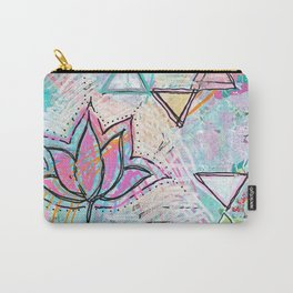Mixed Media Lotus Carry-All Pouch