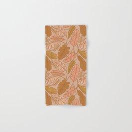 Contour Line Leaves on Taupe Hand & Bath Towel