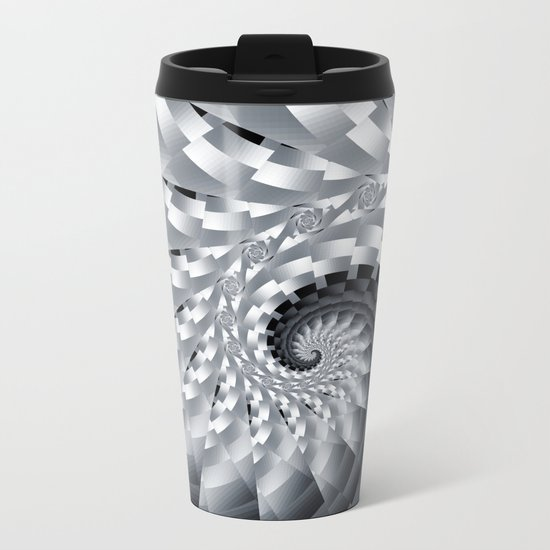 Bladed Black and White Spiral Metal Travel Mug