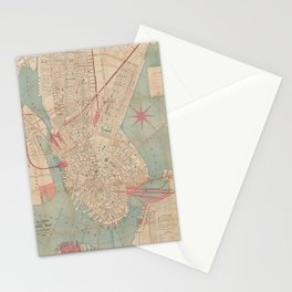 Vintage Map of Boston MA (1882) Stationery Cards