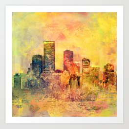 Abstract City Scape Digital Art Art Print
