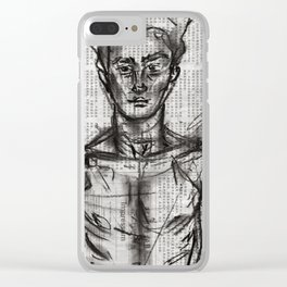 Wanderlust - Charcoal on Newspaper Figure Drawing Clear iPhone Case