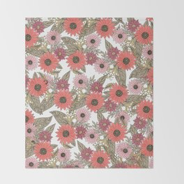 Girly blush pink coral gold modern floral Throw Blanket