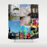 switzerland Shower Curtains featuring Photo Collage Switzerland  by Celeste Sheffey of Khoncepts