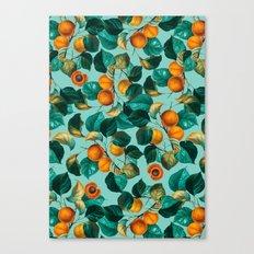 Peach and Leaf Pattern Canvas Print