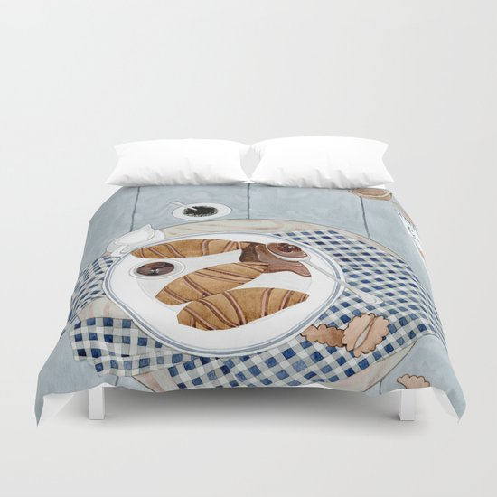 Croissants With Cherry Jam Duvet Cover
