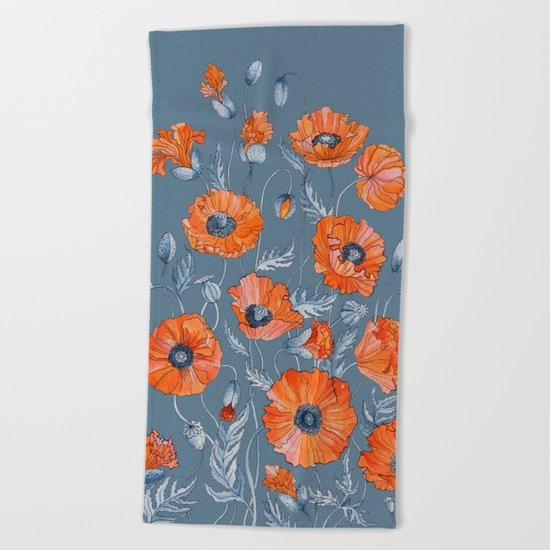 Red poppies in grey Beach Towel