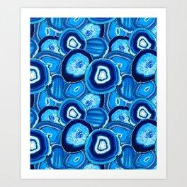 Geode Slices No.1 in Aquamarine + Sapphire Blue Kunstdrucke
