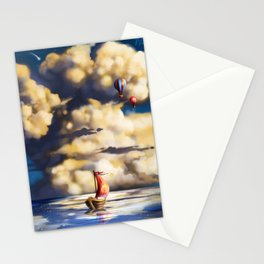 Clouds and stars Stationery Cards