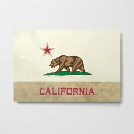 Vintage California Flag Metal Print