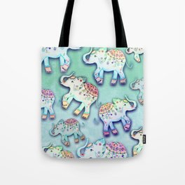 ELEPHANT PARTY MINT Tote Bag