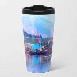 Industrial reflection at mountains edge Travel Mug