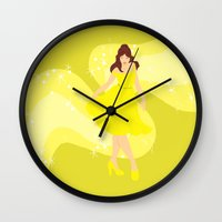 belle Wall Clocks featuring Belle by Eva Duplan Illustrations
