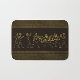 Ancient Sparta  Greece scene on greek pattern Bath Mat