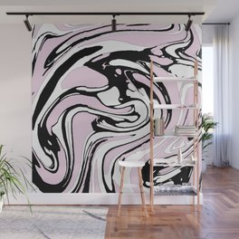 Black, White and Pink Graphic Paint Swirl Pattern Effect Wall Mural