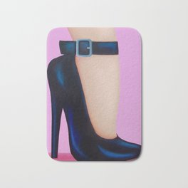 Pink Lady With Stiletto Heels Bath Mat