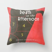 hemingway Throw Pillows featuring Death in the Afternoon, Erenst Hemingway - Book Cover by Stefanoreves