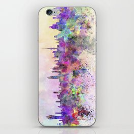 Kuwait City skyline in watercolor background iPhone Skin