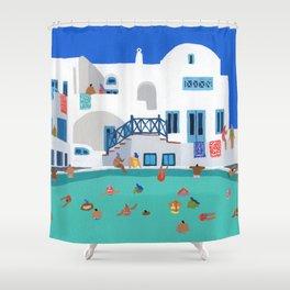 When in Santorini Shower Curtain