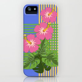 Monstera leaves and Hibiscus flowers on striped background iPhone Case