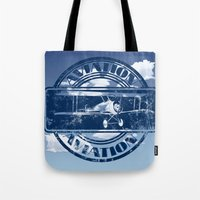 aviation Tote Bags featuring Retro Aviation Art by MacDonald Creative Studios