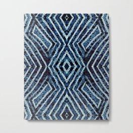 Blue African Dye Resist Fabric Adire Boho Chic Metal Print