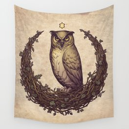 Owl Hedera Moon Wall Tapestry