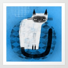 SIAMESE ON BLUE Art Print