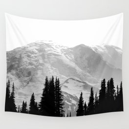 Mount Rainier Black and White Wall Tapestry